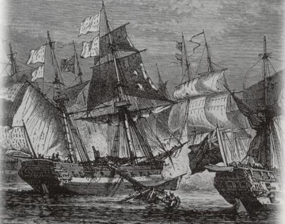 Combat between a French fleet and the English in 1760. Webber. Engraving