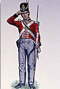 Soldier wearing red coat, blue pants, big black hat and holding a gun with a bayonet in his left hand.