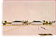 Water colour showing the interior courtyard, the officers' quarters and the guardhouse.