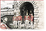 Four soldiers wearing the red uniform are posted in front of a door. An other soldier is looking at them.