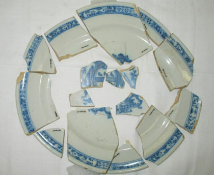 Fragments of an unrestored plate