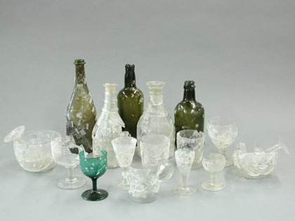 Part of the unrestored glassware