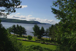 South view: Section of native cemetery and Témiscamingue lake