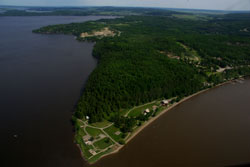 Aerial view of the historic tip of Fort Témiscamingue
