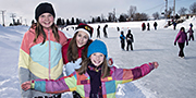Children having fun on the ice of the Chambly Canal