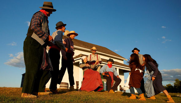 Visitors enjoying Batoche