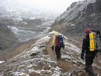 Hikers in a summer snow squall