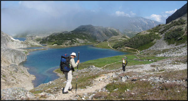 Hikers on the Chilkoot Trail