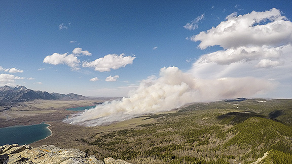 "A time-lapse video of the 2015 ""Y-Camp"" prescribed fire in Waterton Lakes National Park. The compilation spans an 18-hour time period and is made up from nearly 10,000 still images set in motion."