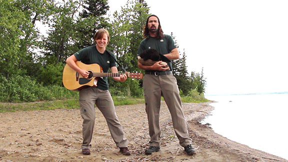 Two Parks Canada Interpreters singing