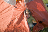 Small child in tent