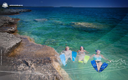 Snorkelers take the plunge into the crystal clear waters of Fathom Five National Marine Park