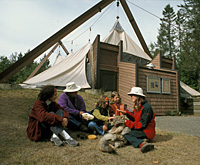 Visitors participating in an educative activity in La Mauricie National Park of Canada