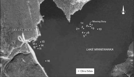 Dive sites on Lake Minnewanka