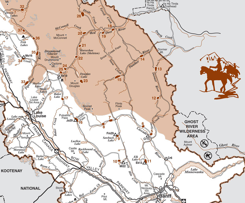 Map of horse riding trails, backcountry campground and grazing areas located in Banff National Park