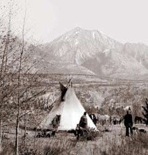 historical photo of tipi and first nations people