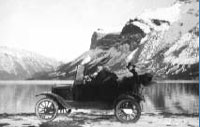 Car on Banff/Minnewanka Road, 1920