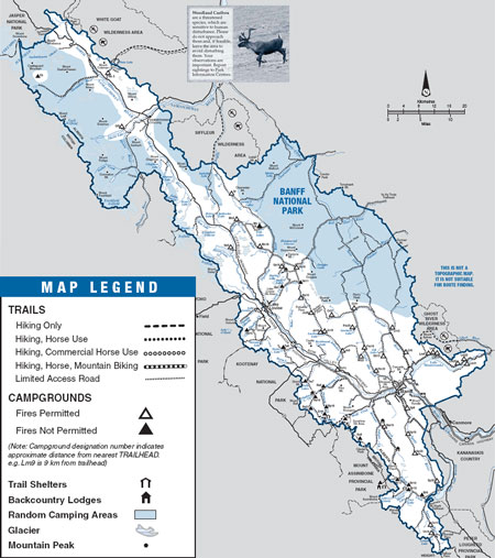 Map of backpacking trails and backcountry campgrounds located in Banff National Park