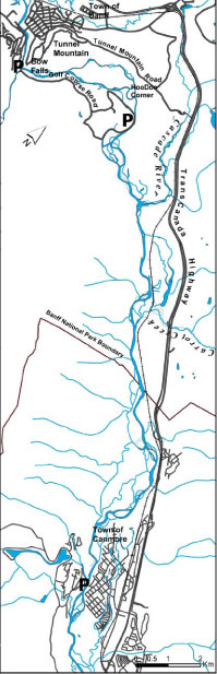 Map of Section # 3 Bow Falls to Canmore