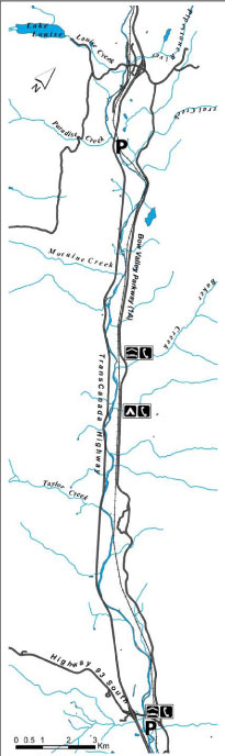 Map of Section #1, Lake Louise to Castle Junction