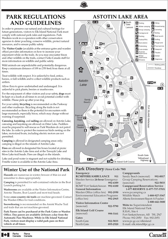 Map of Elk Island National Park 2