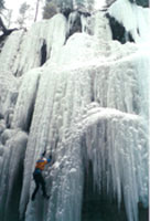 Top roping in Maligne Canyon