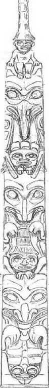 Drawing of the Two Brothers Totem Pole
