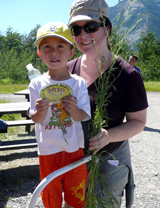 Mother and son show off their work at the Knapweed Rodeo