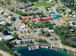 An aerial view of the community of Waterton