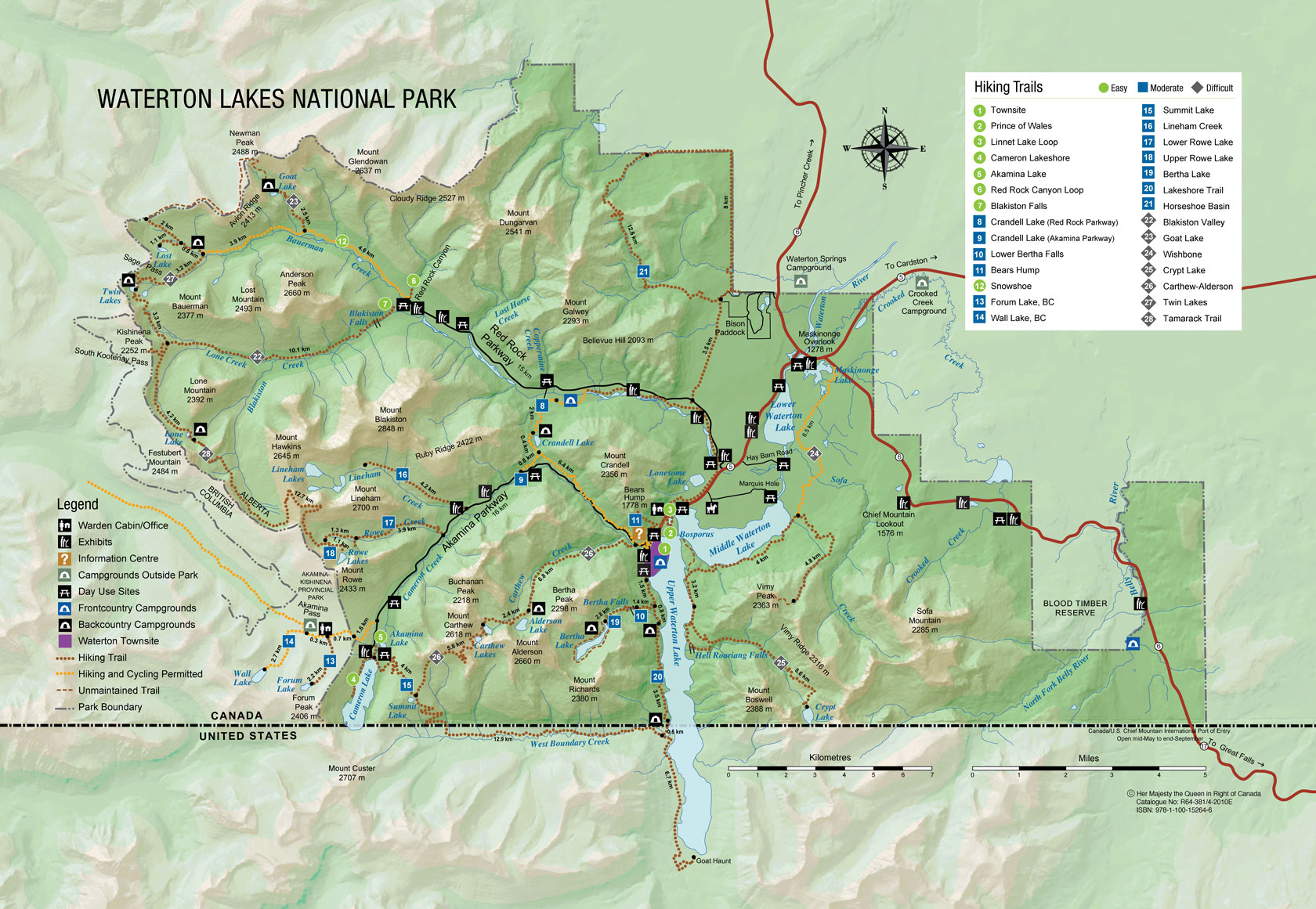 Map of Waterton Lakes National Park