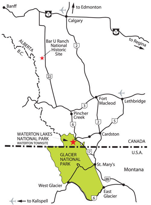 Map of Waterton Region