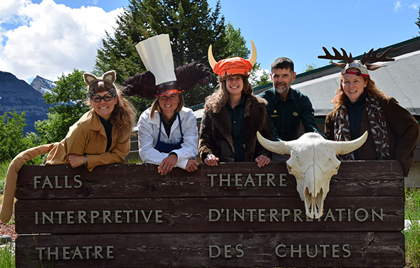 Waterton's 2014 team of interpreters outside  Falls Theatre