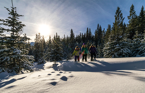 Snowshoers in Waterton Lakes National Park