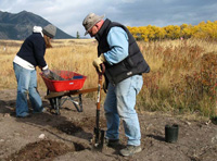Restoration of the Trade Waste Pit - planting with native plants