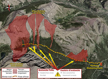 Aerial relief map of Lineham Falls Trail, Waterton Lakes National Park, showing significant avalanche terrain.