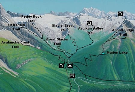 Illecillewaet and Asulkan Valleys and trails