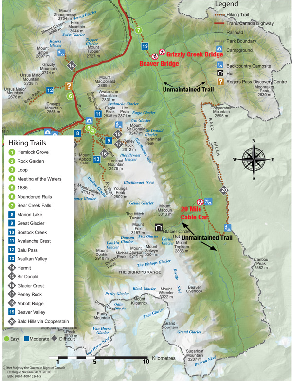 Map of Hiking Trails in Glacier National Park