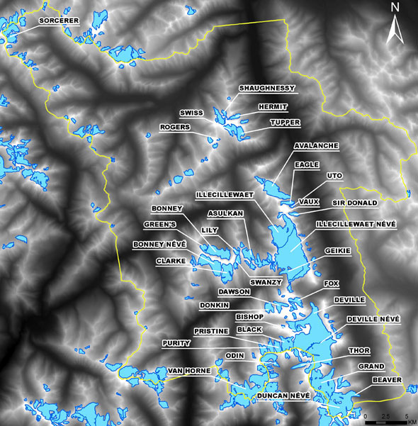 map of the glaciers of Glacier National Park