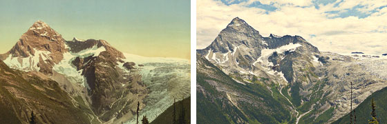 two photos of Illecillewaet Glacier, 1902 and 1911