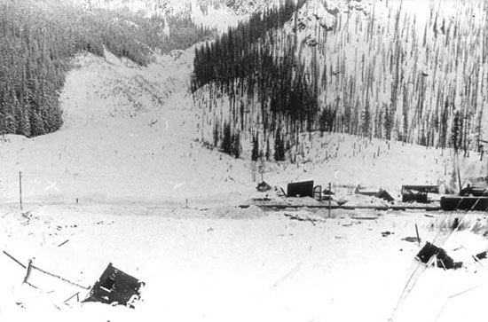 Avalanche on the railway at Rogers Pass