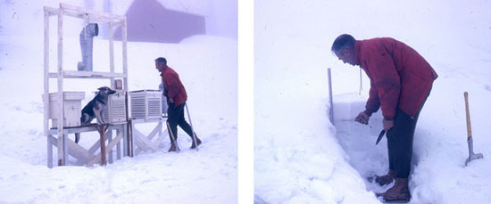 Noel Gardner monitors snow on Mount Fidelity, 1962