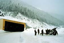 Unit of Canadian Armed Forces with 105 mm howitzer used to control avalanches