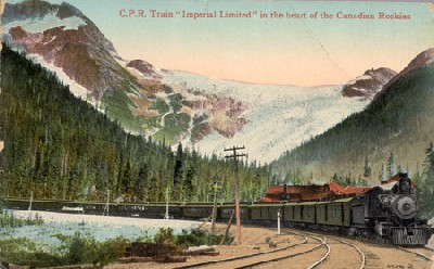 Postcard, train station at Glacier House