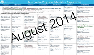 August 2014 Summer Interpretive Schedule