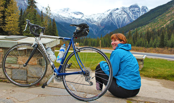 A cyclist relaxes at Rogers Pass