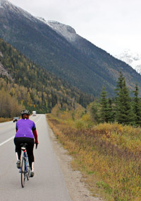 A cyclist on the Trans-Canada Highway