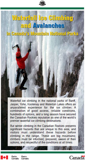 Waterfall Ice Climbing and Avalanches in Canada's Mountain National Parks brochure