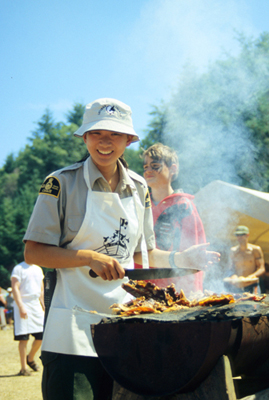 Park staff barbecuing