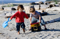 Children on the beach at Sidney Spit