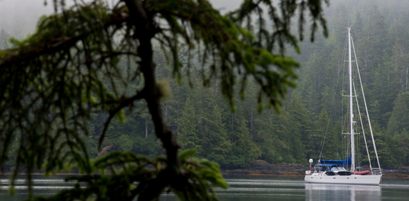 A sailboat in Gwaii Haanas